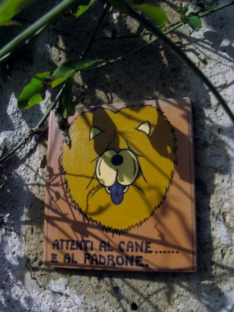 Sovana - watch out for the dog, and the owner