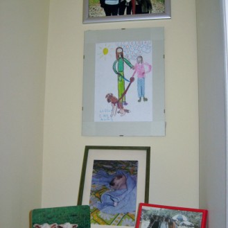 E's art and family and 1st dog and Zedd's sheep and the three gracias