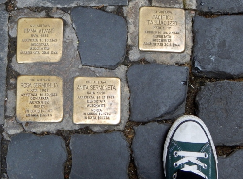 Lest we forget: memorials in Jewish quarter in Roma