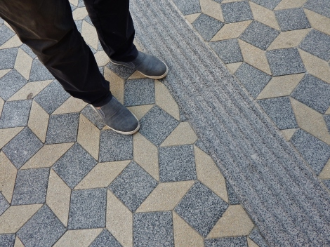 So that it's the wizard too. New pavement in Ljubljana's Slovenska street.