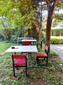 The newly red chairs on the lawn - the garden's owner suggested moving the tables in the shade himself.