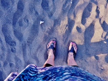 Happy feet on sand.