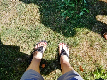 Happy feet on grass.