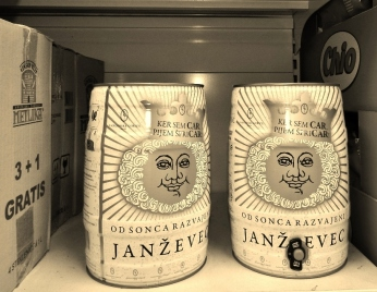 "The image of my childhood: the face of sun-spoilt Janževec wine (well, parents had guests over a lot), now in barrels - filed under ""if you live long enough"". Slogan goes: ""Since I am a tzar, I drink Spri-tzer!)"