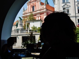 This fish restaurant is in Ljubljana with the view of the greatest Slovenian poet and his muse.